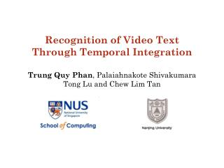 Recognition of Video Text Through Temporal Integration