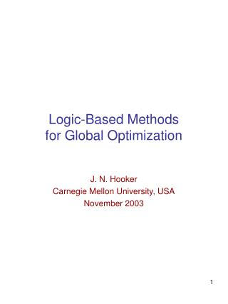 Logic-Based Methods  for Global Optimization