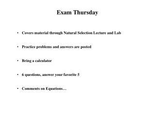 Exam Thursday