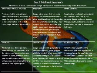 Year 6 Rainforest Homework