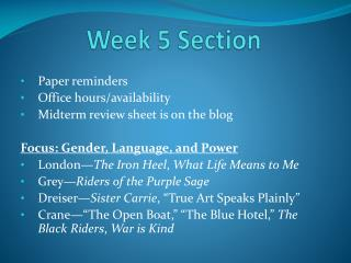 Week 5 Section