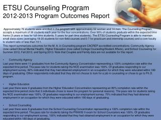 ETSU Counseling Program 2012-2013 Program Outcomes Report