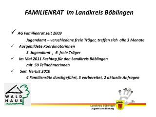 FAMILIENRAT  im  Landkreis Böblingen AG Familienrat seit 2009
