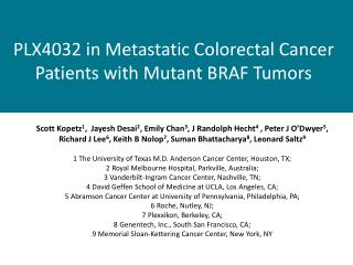 PLX4032 in Metastatic Colorectal Cancer Patients with Mutant BRAF Tumors