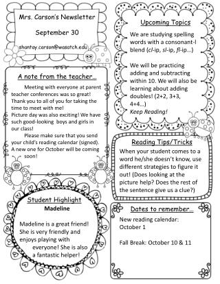 Mrs. Carson's Newsletter September  30   shantayrson@wasatch