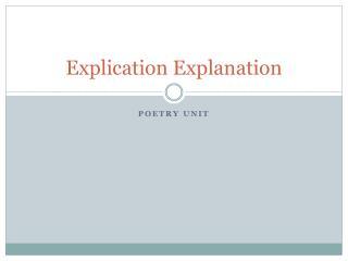 Explication Explanation