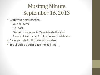 Mustang Minute September 16, 2013