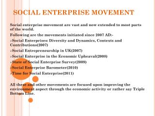 SOCIAL ENTERPRISE MOVEMENT