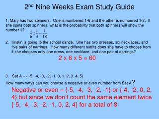 2 nd  Nine Weeks Exam Study Guide
