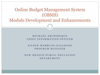 Online Budget Management System (OBMS)  Module Development and Enhancements
