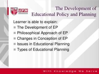 The Development of  Educational Policy and Planning