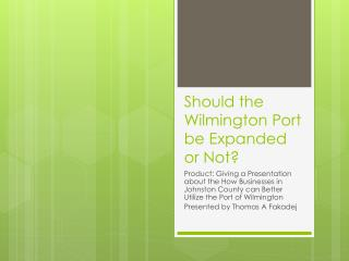 Should the Wilmington Port be Expanded or Not?