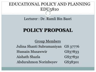 EDUCATIONAL  POLICY AND  PLANNING EDU5810