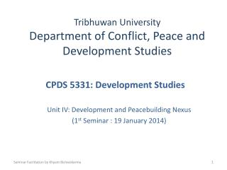 Tribhuwan  University Department of Conflict, Peace and Development Studies