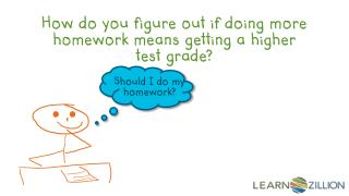 How do you figure out if doing more homework means getting a higher test grade?