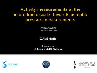 Activity measurements at  the microfluidic  scale: towards osmotic pressure measurements
