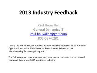 2013 Industry Feedback