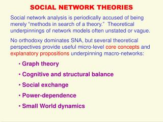 SOCIAL NETWORK THEORIES