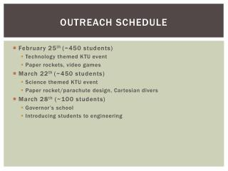 Outreach schedule