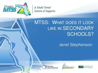 MTSS:  What does it look like in  SECONDARY SCHOOLS?