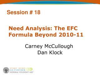 Need Analysis: The EFC Formula Beyond 2010-11