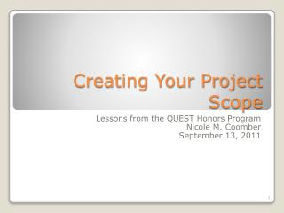 Creating Your Project Scope