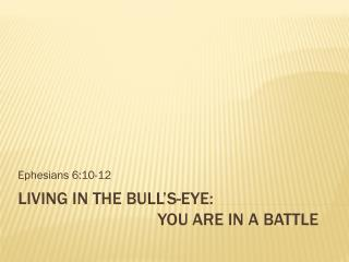 Living in the Bull's-eye:   			You  Are In a Battle