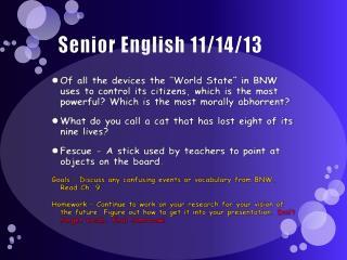 Senior English  11/14/13