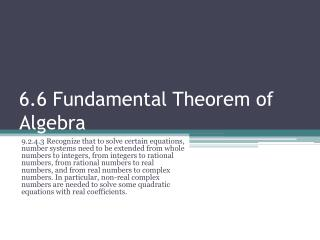 6.6 Fundamental Theorem of Algebra