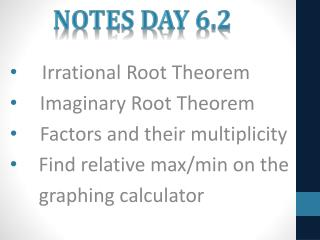 Notes Day 6.2