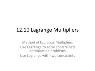 12.10 Lagrange Multipliers
