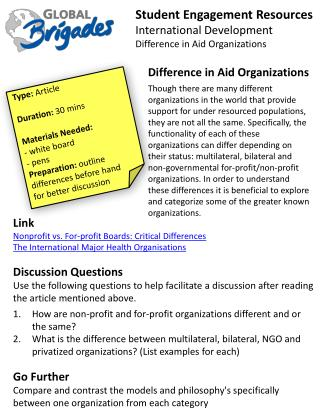Student  Engagement Resources International Development Difference in Aid  O rganizations