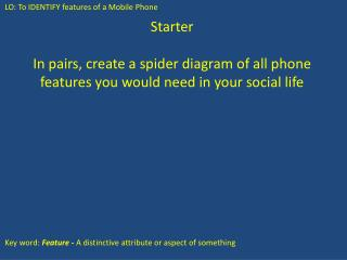 Starter In pairs, create a spider diagram of all phone features you would need in your social life