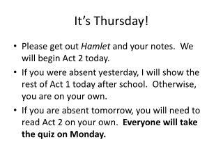 It's Thursday !