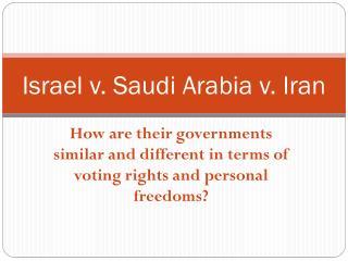 Israel v. Saudi Arabia v. Iran