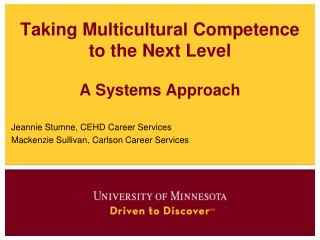 Taking Multicultural Competence to the Next  Level A  Systems Approach
