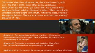 Application:  Mimic the format of the excerpt and use syntax to reinforce a life lesson.