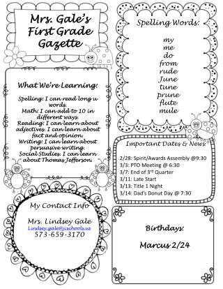 Mrs. Gale's First Grade Gazette