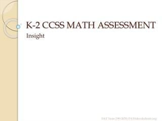 K-2  CCSS  MATH ASSESSMENT