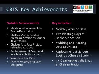 CBTS Key Achievements