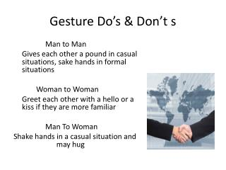 Gesture Do�s & Don�t s