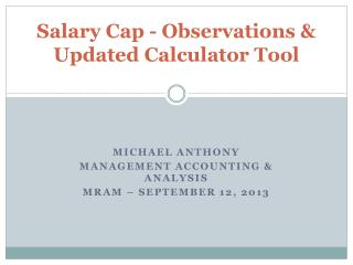 Salary Cap - Observations & Updated Calculator Tool
