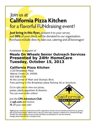 California Pizza Kitchen 1120 Broadway  Plaza Walnut Creek  CA,  94596 925-938-0720