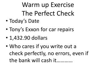 Warm up Exercise The Perfect Check