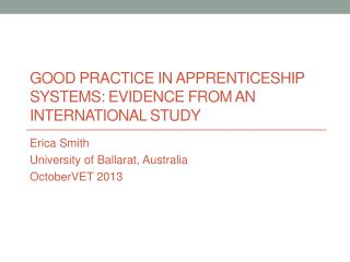 Good practice in apprenticeship systems: Evidence from an international study