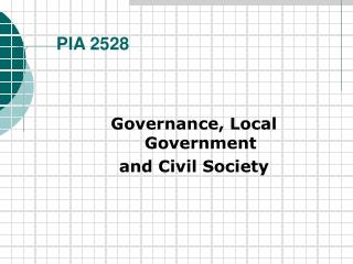 Governance, Local Government and Civil Society