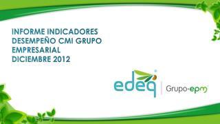 INFORME INDICADORES DESEMPEÑO CMI GRUPO EMPRESARIAL  DICIEMBRE  2012