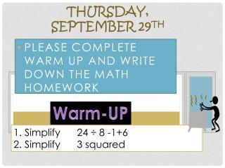 Thursday,  September  29 th