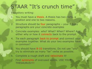 "STAAR ""It's crunch time"""
