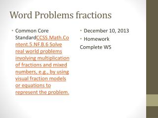 Word Problems fractions